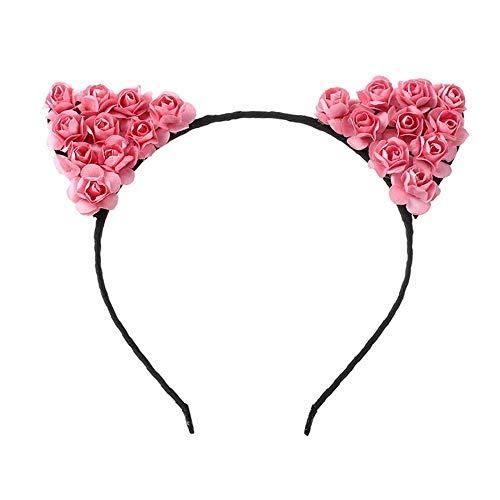 FANG-CAO, Katze Ohren Haarband Kleine Teufel Katze Stirnbänder Papier Blume Katzen Ohren Haarbänder Kopfschmuck Mädchen Kinder Haarschmuck (Color : Peach)