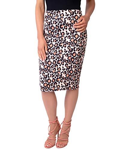 KRISP Falda Mujer Elegante Lápiz Tubo Rodilla Estampado Cóctel Tallas Grandes Fiesta Uniforme Ajustada, (Leopardo (2702), 36 EU (08 UK)), 2702-LEO-08