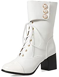 COOLCEPT Damen Fashion Mid Heel Warm Gefüttert Kunstfell Boots Schnee Stiefel (34 EU, White)
