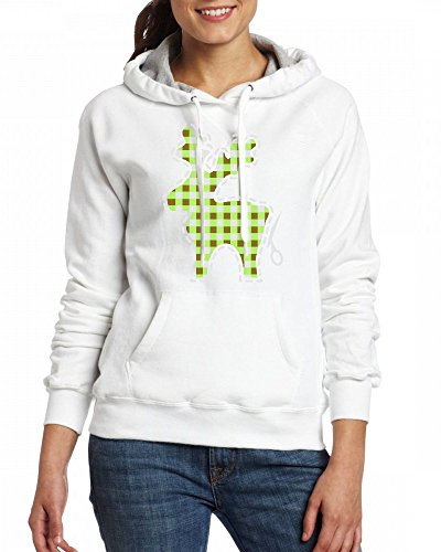 A plaid reindeer to cut Womens Hoodie Fleece Custom Sweartshirts white