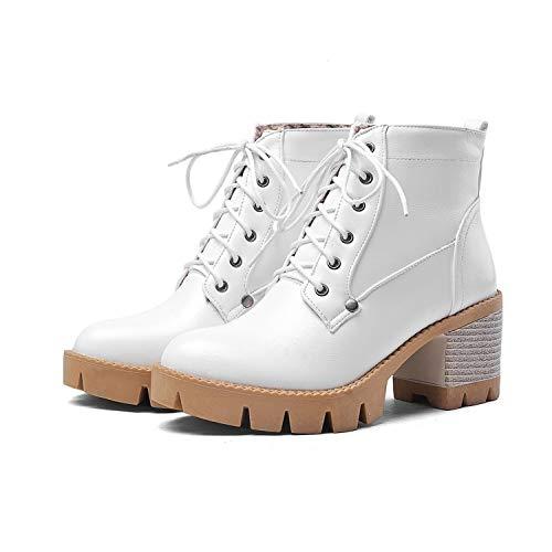 Stiefel Für Damen, Schnürstiefeletten Für College-Schuhe, Große, Dicke Schneestiefel, Warme Und Samtige High Heels-Schuhe, 35-43,Weiß,36