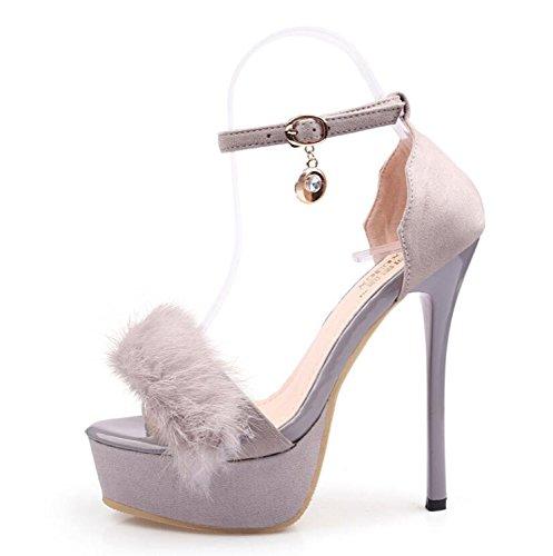 Frauen Schuhe Frosted Suede Sexy Schuhe Frühling Sommer High Heels Einfache Party Night Club Schuhe (Schwarz Grau Aprikose) ( Color : Gray , Größe : 38 )