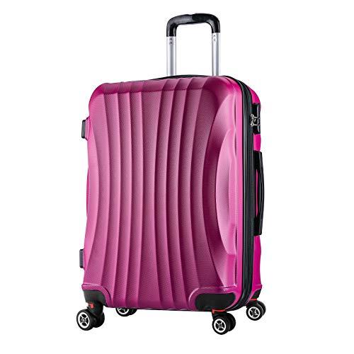 WOLTU RK4213pk-L, Reise Koffer Trolley Hartschale 4 Rollen Volumen erweiterbar, Reisekoffer Hartschalenkoffer Handgepäck, M/L / XL/Set, leicht und günstig, Pink (L, 67 cm & 70 Liter)