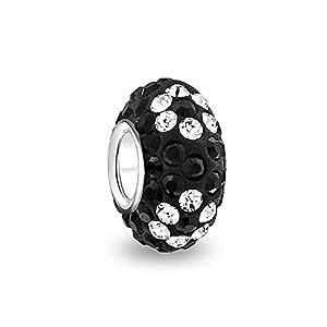 Bling Jewelry 925 Silber Schwarz Blume Swarovski Kristall Bead