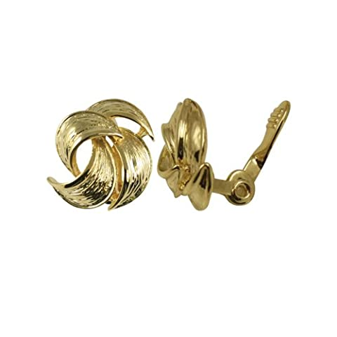Enriched Gold Tone Classic Self Adjusting Clip On Earrings