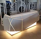 Origami JM+Corner • Bancone Reception Negozio • Workstation Desk ufficio. In alluminio con illuminazione LED