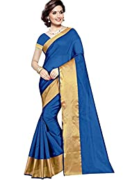 The Shopoholic Blue Cotton Silk Saree For Women