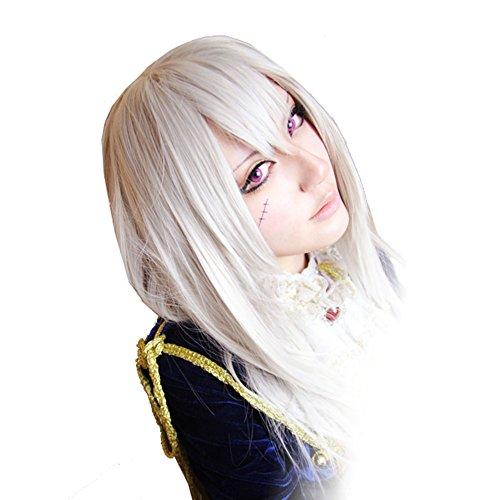 �en Perücke APH Julchen Beillschmidt Anime Cosplay Kostüm 80cm Silbrige Weiß Glatt Haarteil Zubehör (Halloween Preußen Cosplay)