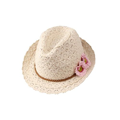 Kentop Panamahut Zylinderhut Damen Fedora Hut Panama Sonnenhut Faltbarer Strandhut mit Spitze Blume Mit Fedora