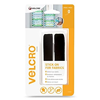 VELCRO® Brand Brand Stick on Self Adhesive Tape Sticky Back for Fabrics Fastener 19mm X 60CM in Black