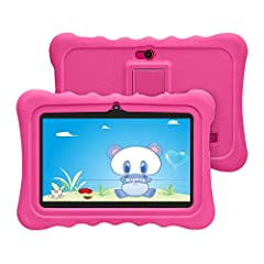 Idea Regalo - HXY Tablet per bambini con WiFi Bluetooth 7 pollici Tablet 1024x600 per bambini Android 6.0 Quad Core 1GB 16GB Dual Camera Custodia per tablet a prova di bambino Educativo per bambini