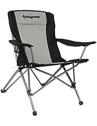 KingCamp Silla de camping plegable, tamaño grande con apoyabrazos y bolsa de transporte, Color gris y negro