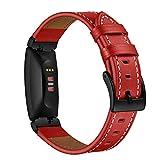 AISPORTS Compatibel voor Fitbit Inspire Band Lederen Vrouwen Mannen Sport Smart Horloge Vervanging Band Polsband Metalen Gesp Armband Polsband voor Fitbit Inspire/Inspire HR Fitness Tracker Accessoires, Rood