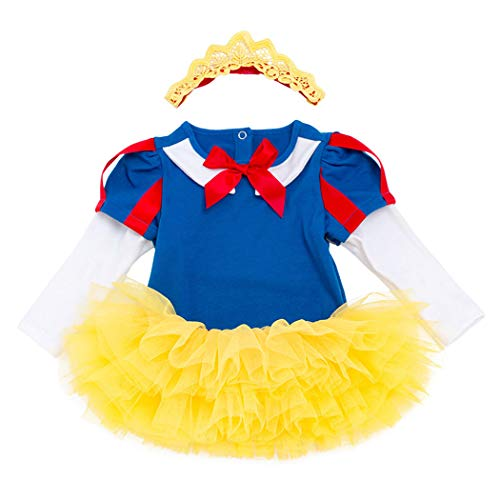 AmzBarley Princess Snow White Romper Suits Costume for Baby Girl Infant Toddler Long Sleeve Outfit Bodysuit Holiday Party Dress up Age 3-6 Months Size ()