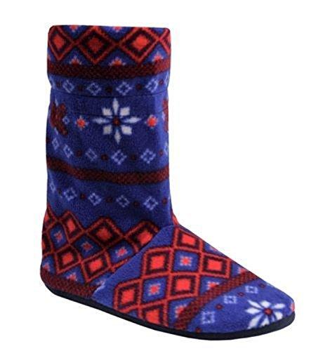 Chaussons-bottes pour femme Motif léopard/zébré Motif Pantoufles confortables pour femme Motif jacquard Fair Isle Bleu - Bleu marine