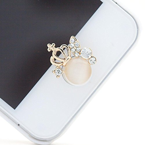 Ouneed® 3D glitzer Bling Diamond Metal Home Button Keypad Sticker Key Post for iPhone 4 4S 5 5S 6 6S For iPad (B) (Home Diamond Button)