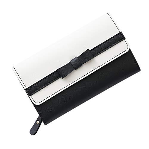 SuperSU Mode Damen Geldbörse Langer Portemonnaie Bowknot mit Schnalle Spleiß Geldbeutel,Groß Portmonee Einfarbig Multi-Card-Bit Geldtasche Einfach Damengeldbörse Lang Brieftasche (Tasche Brieftasche Slim Fossil)