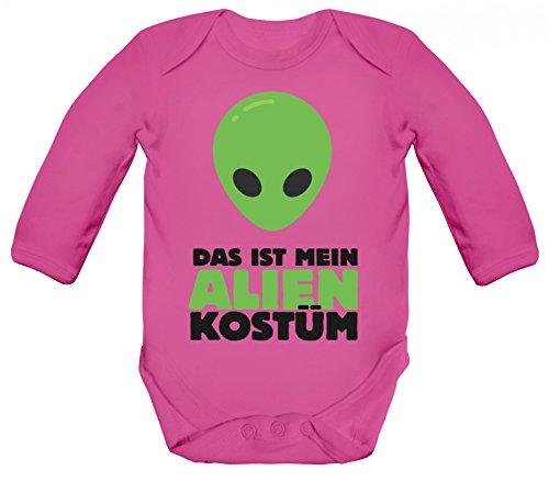 Karneval Verkleidung Strampler Bio Baumwoll Baby Body langarm Das ist mein Alien Kostüm 2, Größe: 12-18 Monate,Fuchsia (Aliens Baby Kostüm)