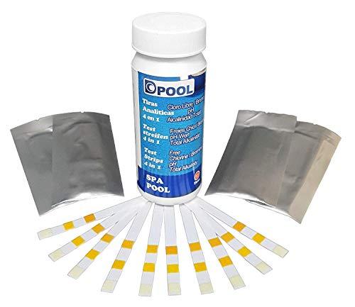 well2wellness Pool Teststreifen 4 in 1 für freies Chlor, Brom, pH + Alkalinität - 50 Stück