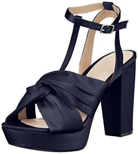 Bianco Damen Satin Strap Sandal Offene, Blau (Navy Blue), 40 EU (Sling Satin)