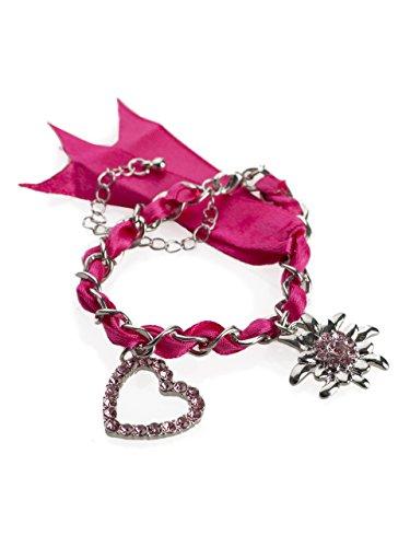 Trachten Armband Wiesn-Schweif - mit Herz und Edelweis Charm Anhänger - Armkette für Dirndl und Lederhose (Pink)
