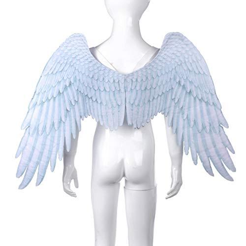 3D Schwarz Engelsflügel Weiße Fee Flügel Kostüm Halloween Party Karneval Cosplay Flügel Für Erwachsene Männer Frauen Kinder Kinder, Halloween Dekoration Requisiten (2 Größe Verfügbar) (Childs Weiße Fee Kostüm Flügel)