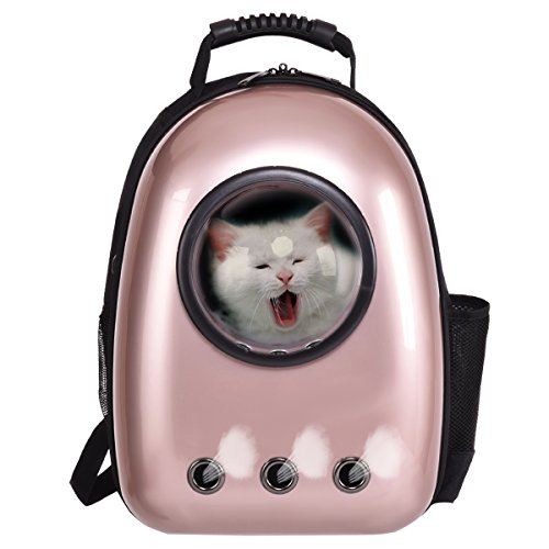 COSTWAY Haustier Rucksack Raumkapsel Hunde-Rucksack Transport-Rucksack Hunde-Tasche Tragbar (Golden)