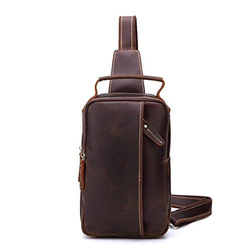 AFCITY Herren Leder Sling Bag Chest Bag Eine Umhängetasche Crossbody Taschen Rucksack für Männer