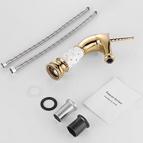 Homelody – Nostalgische Waschtisch-Einhebelarmatur, ohne Ablauf, Einhorndesign, Weiß-Gold-Diamant - 8