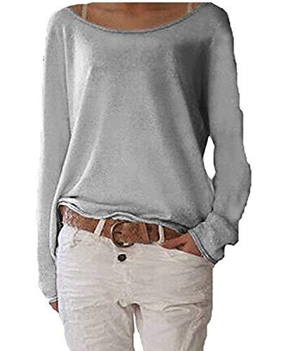 Jevvia Damen Langarm T-shirt Rundhals Ausschnitt Lose Bluse Hemd Pullover Oversize Sweatshirt Oberteil Tops ,Farbe Grau , Gr. Small / EU 36-38
