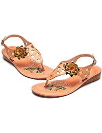 c1048236b9105 gracosy Women s Summer Flip Flops Sandals Ladies Wedge Heel Clip Toe Sandals  Boho Beach Shoes Handmade Flower Anti-Slip Bohemian T…