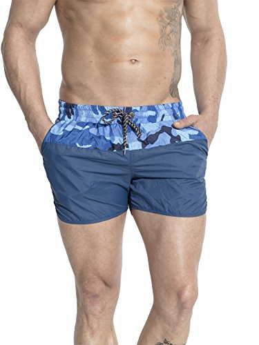Neleus Mens Dry Fit Athletic Running Sports Shorts with Pockets,718,Navy Blue,L+