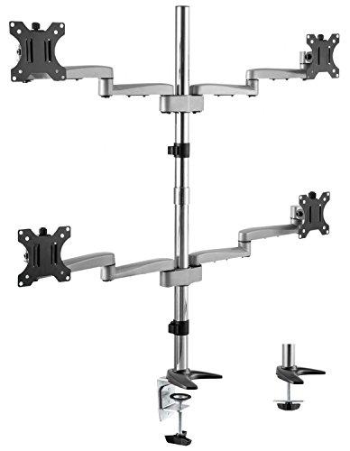 RICOO Universal Monitor Multimonitor Stand TS1911 Halterung 4 Bildschirme Schwenkbar Neigbar Tischhalterung LCD LED TFT Curved Bildschirmhalterung VESA 75x75 100x100 33-69cm 13-27 Zoll Silber Quad Lcd Monitor Stand