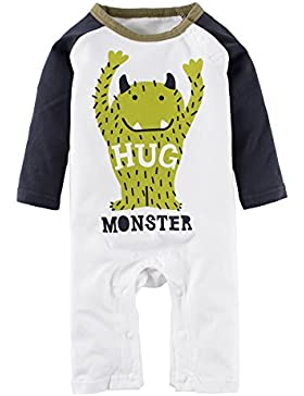 BIG ELEPHANT Baby Jungen'1 Stück Monster Print Langarm Spielanzug Pajama L33