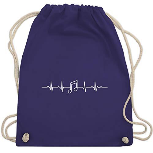 Symbole - Herzschlag Musik Note - Unisize - Lila - WM110 - Turnbeutel & Gym Bag - Symbol Spas