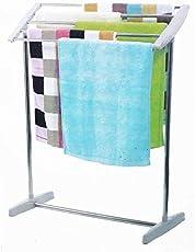 Shreeji Ethnic Multifunctional Folding Stainless Steel Mobile Towel Rack, Mobile Towel Nappies Cloth Holder Hanger Rack Room Space Save Mobile Towel Cloth Rack Holder,Towel Drying Stand