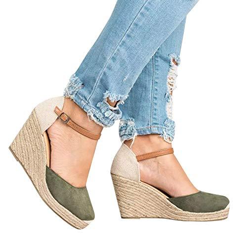 Minetom Shape Ups Mujer Cuero Confort Peep Toe Cuña Sandalias Plataforma Tacón Zapatos para Caminar C Verde EU 36