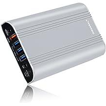 GISSARAL 24000mAh 90Wh Llevar vuelo Power Bank cargador batería externa portátil para Surface Pro 4 Book Pro 3 Pro 2 RT, 4 puertos USB para Tableta o teléfono inteligente -Plata