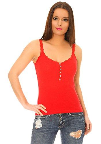 dmarkevous - Top débardeur femme à fines bretelles en coton rouge à bordures dentelle et boutons fantaisie Rouge