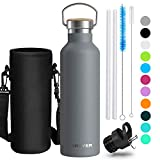 Creyer Stainless Steel Water Bottle, 750ml/26oz Vacuum Insulated Double Walled Stainless Steel Drinking