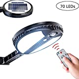 Luz de pared con sensor solar de control remoto, 3 modos, 70 luces LED solares de seguridad, sensor de movimiento con estabilizadores giratorios, IP65 para jardín, pared,...