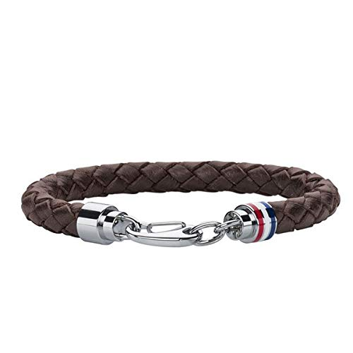 Tommy Hilfiger Men's Brown Braided Leather Bracelet with Stainless-Steel Closure