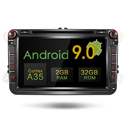 Amaseaudio Upgrade Android 9.0 DSP Autoradio 8 Zoll Doppel Din In-Dash Auto DVD-Player GPS Navigation für VW Golf Passat CC Jetta Polo Skoda Seat (Dvd-player In Dash)