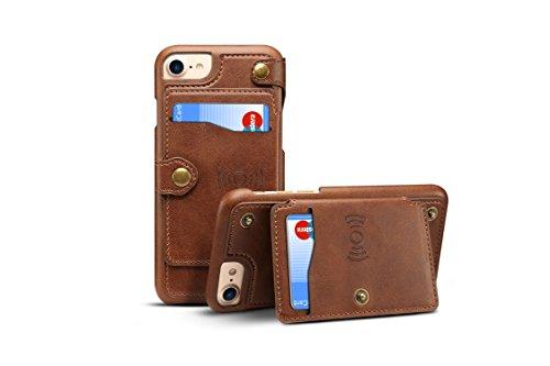 iPhone 7/8Cover Leder, tacoo Reißverschluss Kreditkarte Visitenkartenhalter Geld Slot Slim Soft Fashion Abnehmbare Schutzhülle Geldbörse Handyhülle Schale für Apple iPhone 6/6S 7/8, braun