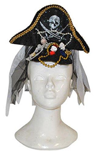 Confettery - Piraten Kostüm Hut mit Stoff Ketten Totenkopf, Mehrfarbig