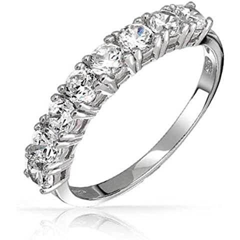 Bling Jewelry 925 Sterling Silver Mezza Eternity anello Wedding Band CZ