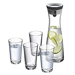 WMF Basic Wasserkaraffe-Set, 5-teilig, Karaffe mit 4 Wassergläser 250ml, Glas-Karaffe 1,0l, Höhe 29 cm, Silikondeckel, CloseUp-Verschluss