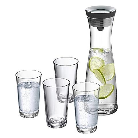 WMF Basic Wasserkaraffe-Set 5-teilig, 1,0l, Höhe 29cm, Glaskaraffe Karaffe CloseUp-Verschluss, schwarz, Glas Silikon und 4 Gläser 250ml