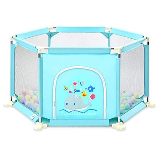 YXNN Kinder 6-teiliges Spielbett - Spielen Sie Zaun Tragbare Waschbare Wasser Game Center Zaun, Atmungsaktives Mesh, Geeignet Für Baby Indoor-und Outdoor-Spielen (Color : Blue) -