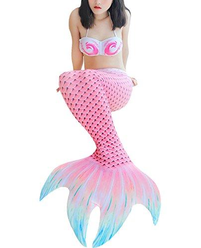 Mädchen Meerjungfrau Schwimmanzug Meerjungfrauenschwanz zum Schwimmen mit Meerjungfrau Flosse Bikini Tankini Kostüm